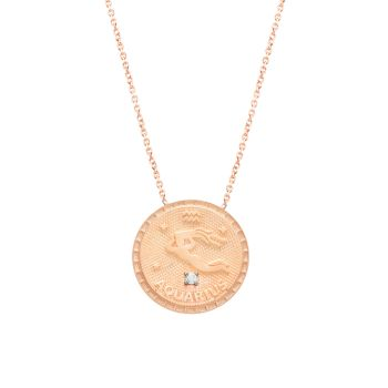 Happy Me 14K желтое золото Vermeil & amp; Хрустальное колье с медальоном зодиака Gabi Rielle