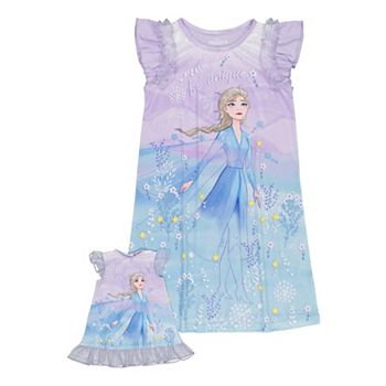 Disney's Frozen 2 Girls 4-8 Elsa Unique Nightgown with Matching Doll Nightgown Licensed Character