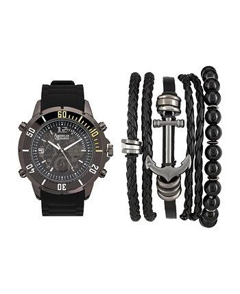 Мужские черно-серые аналоговые кварцевые часы и складной подарочный набор American Exchange