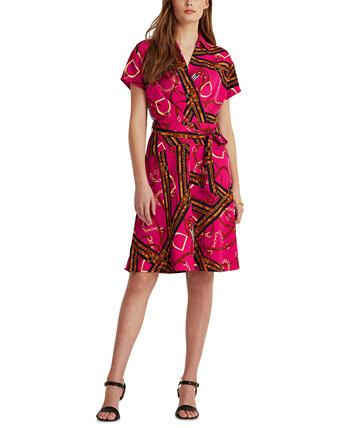 Print Belted Crepe Dress Ralph Lauren