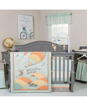 Комплект постельного белья для детской кроватки Dr. Seuss Oh, The Places You'Ll Go унисекс из 5 предметов Trend Lab
