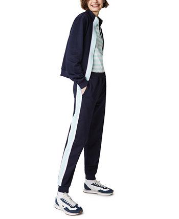 Спортивные брюки из флиса с контрастными полосками Lacoste