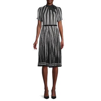 Платье в полоску с объемными рукавами Karl Lagerfeld Paris