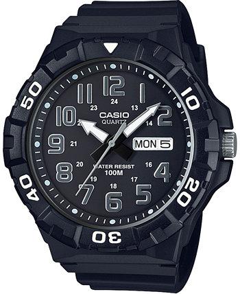 Мужские черные часы с ремешком из смолы 50мм Casio