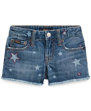 Хлопковые джинсовые шорты со звездами для маленьких девочек Ralph Lauren