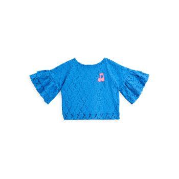 Маленькая девочка & amp; Кружевной топ для девочек с оборками на рукавах Mini rodini