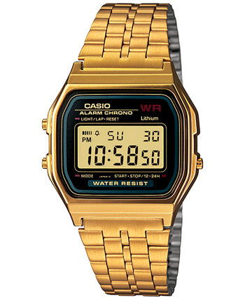 Мужские цифровые винтажные золотые часы с браслетом из нержавеющей стали 39x39 мм A159WGEA-1MV Casio