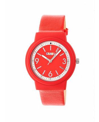 Унисекс Яркие красные часы с ремешком из искусственной кожи 36 мм Crayo