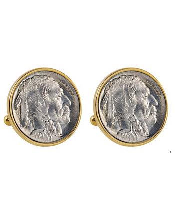 1913 год Запонки из медной никелированной оправы «Буффало» первого года выпуска American Coin Treasures