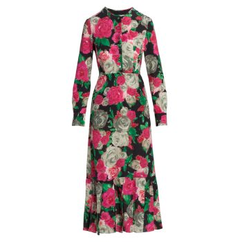 Шелковое платье миди с цветочным принтом Cessation Rachel Comey