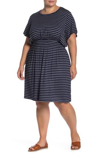 Платье Celeste в полоску с копченой талией (Большой размер) B Collection by Bobeau
