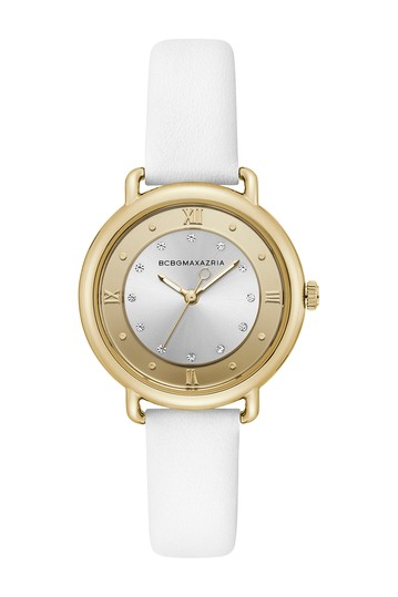 Women's Silver Crystallized Dial Leather Watch, 34mm BCBGMAXAZRIA