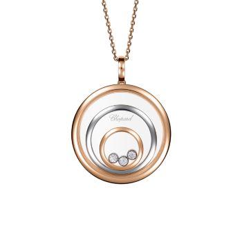 Happy Spirit, двухцветный, 18-каратное золото & amp; Ожерелье с бриллиантовой подвеской Chopard