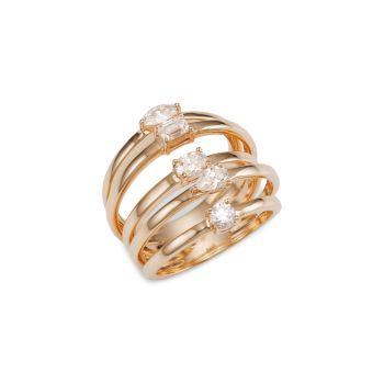 Solo 5 Row желтое золото 585 пробы и усилитель; Бриллиантовое кольцо Lana Jewelry
