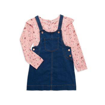Двухкомпонентный топ Little Girl с цветочным рисунком и цветочным узором Комплект джинсового платья BCBG Girls