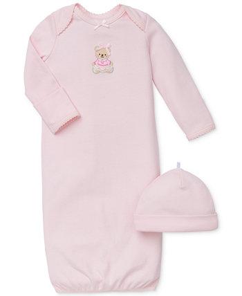 Комплект шапки и платья с милым медведем для маленьких девочек Little Me