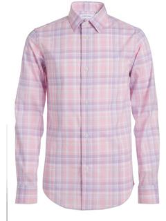 Long Sleeve Plaid Button-down Dress Shirt Calvin Klein