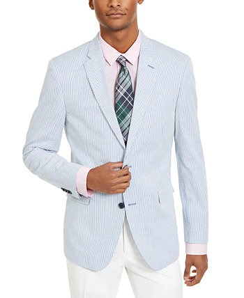 Мужское современное эластичное синее / белое спортивное пальто в полоску из полосатой кожи Tommy Hilfiger