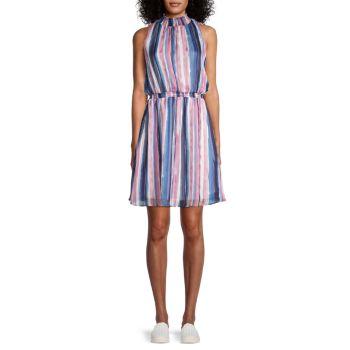 Платье-блузон в полоску со сборками Chenault