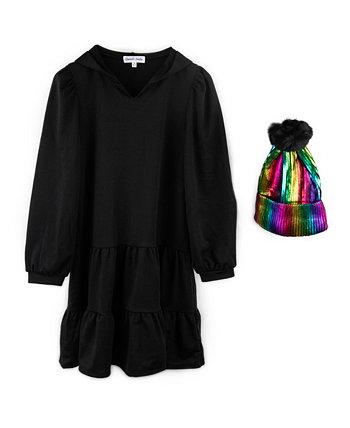 Платье-толстовка с капюшоном из 2 предметов для больших девочек и шапочка из фольги радуги Emerald Sundae