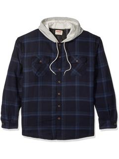 Фланелевая куртка-рубашка с длинным рукавом на стеганой подкладке и капюшоном Wrangler