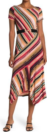Multi Stripe Short Sleeve Belted Maxi Dress Gabby Skye