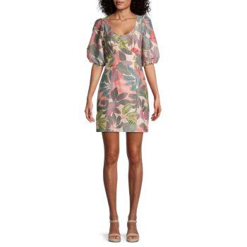 Платье Cammie с принтом листьев и пышными рукавами Parker