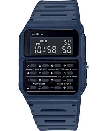 Унисекс Цифровой калькулятор Синий Смола Ремешок Часы 34.4 мм Casio