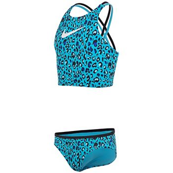 Girls 7-16 Cheetah Spiderback Midkini & Bottoms Swimsuit Set Nike