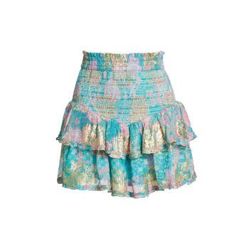 Многослойная мини-юбка с цветочным рисунком HEMANT & NANDITA
