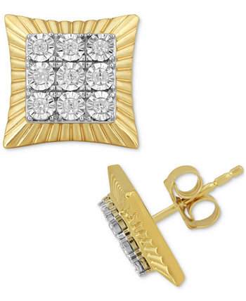 Мужские серьги-гвоздики с квадратными кластерами и бриллиантами (1/4 карата) из позолоченного серебра 18 карат Macy's