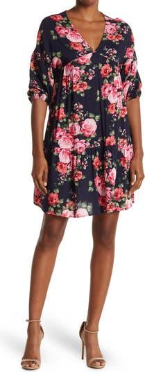 Платье прямого кроя с объемными рукавами до локтей Cotton Emporium