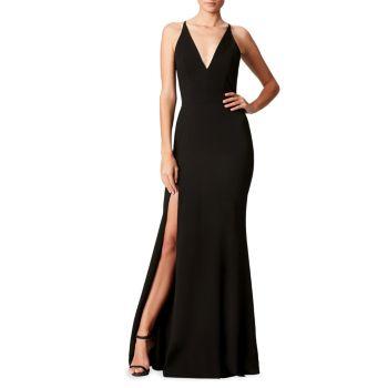 Платье из крепа с разрезом и без рукавов Iris Dress the Population