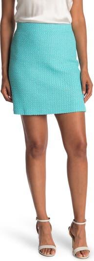 Твидовая трикотажная юбка-трапеция без застежек St. John Collection