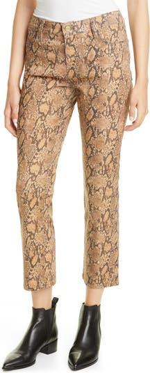 Укороченные джинсы скинни с покрытием до щиколотки с принтом Le High Python с покрытием Frame Denim
