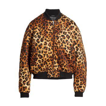 Дутая куртка-бомбер с леопардовым принтом R13