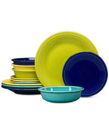Cool Colors 12 шт. Набор столовой посуды классический, сервиз на 4 персоны FIESTA