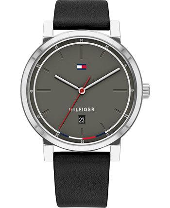 Мужские часы с черным кожаным ремешком 43 мм Tommy Hilfiger