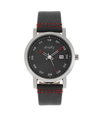 Quartz The 5300 Black Dial, часы из натуральной черной кожи 40 мм Simplify