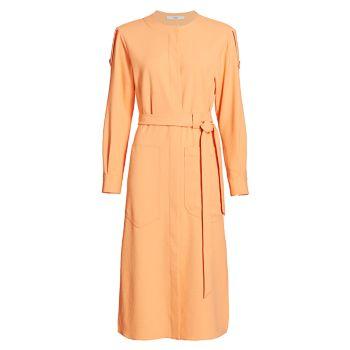 Платье-рубашка карго с драпировкой мелового цвета Tibi