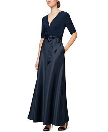 Petite Mixed-Media Gown Alex Evenings