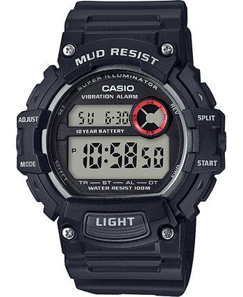 Мужские цифровые часы с черным полимерным ремешком 47,9 мм Casio