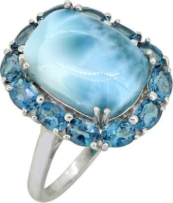 Серебряное кольцо с голубым топазом Larimar London Nitya