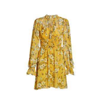 Платье из мятого шифона с завязками на воротнике ML Monique Lhuillier