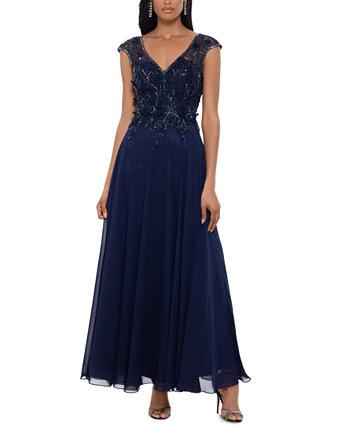 Шифоновое платье с вышивкой из бисера и пышной юбкой XSCAPE