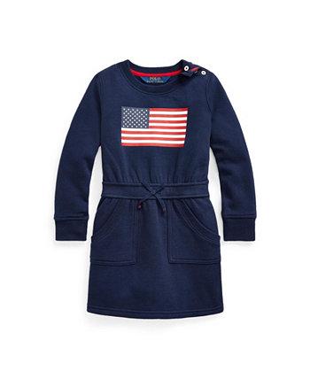 Платье из смесового флиса с флагом для малышей и маленьких девочек Ralph Lauren
