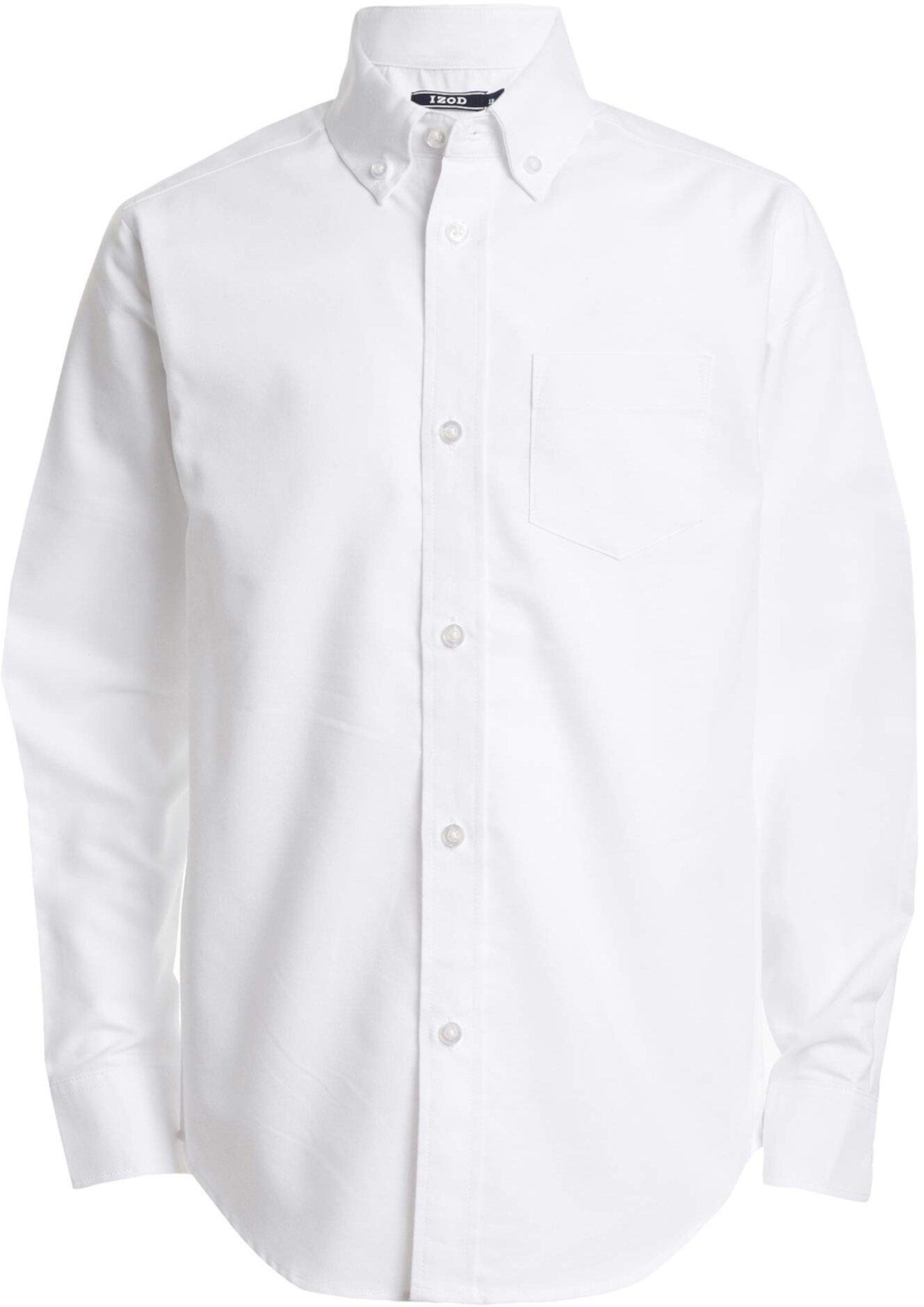 Однотонная оксфордская рубашка на пуговицах с длинным рукавом IZOD