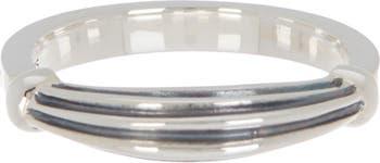 Стопорное кольцо с канавками из стерлингового серебра - размер 7 LAGOS