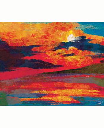 Художественный принт на акриловой стене Vermillion Dusk Abstract 16 x 20 дюймов Creative Gallery
