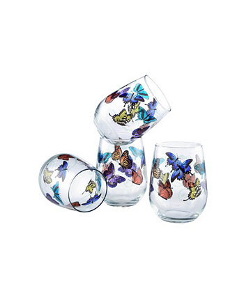 Бокал для вина с бабочками на 15 унций, набор из 4 шт. Culver